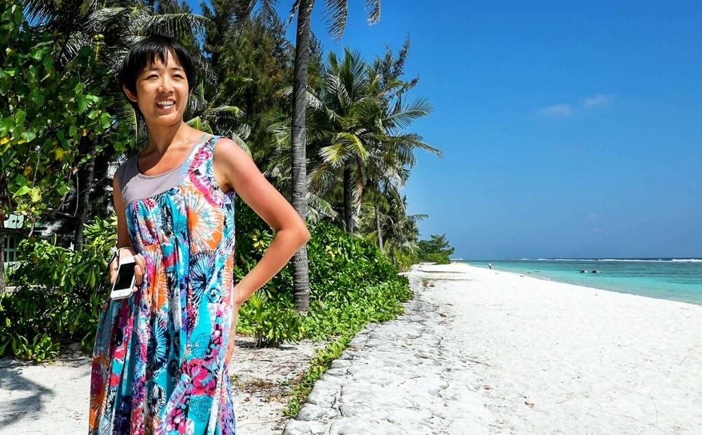 Beijing woman at beach in Hulhumale, Maldives.