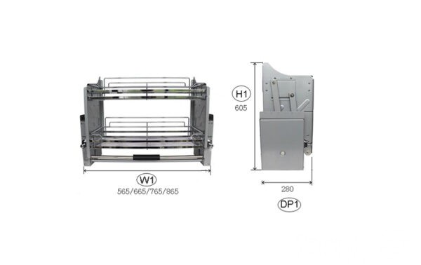 sistema de almacenamiento extraíble y abatible para muebles de cocina